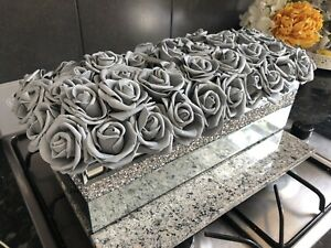 CRUSHED DIAMOND SILVER CRYSTAL RECTANGLE VASE WITH FOAM GREY ROSES AND DIAMANTÉ