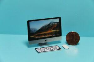 Dollhouse Miniature Desk Computer Monitor Keyboard Mouse 3 Piece Set G7521