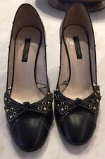 Sergio Rossi Black Shoes, Size 38, With Black Bow And Gold Studs, Made In Italy