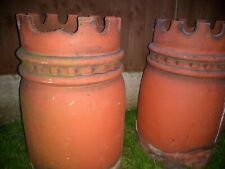 Terracotta Clay unusual Chimney Pots Used a pair one has damage to crown