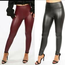 Womens High waist PU leather look fleece legging