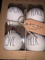 RAE DUNN Christmas Ornaments JOY~PEACE~LOVE~CHEER Set Of 4 Brand NIB