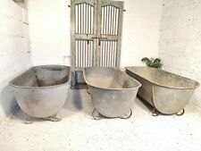 More details for large vintage european galvanised zinc tin bath tub garden pond herb planter