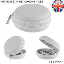Blanco en Oreja Audífonos Auriculares de Ipod Redondo estuche duro de almacenamiento con cremallera ipad