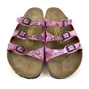 Birkenstock Womens Papillo 40 Sandal Pink Swirl Three Straps Buckle Shoe