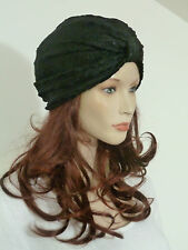 Fearlessly stylish lagenlook black velour burnout floral soft touch turban hat