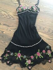 Sue Wong Black 100% Silk Dress Embroidered Roses Beaded Mesh Ruffle Size 4 EUC