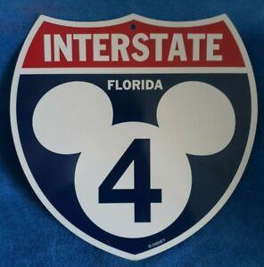 WALT DISNEY Disney World Interstate 4 Florida Mickey Mouse Ear Plastic Sign I-4