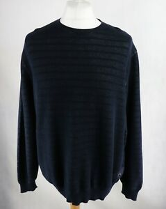 Mens BARBOUR Waffle Knit Sweater size XL Crew neck Jumper Dark Navy Blue Chunky