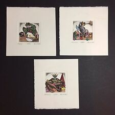 3 Piece Set of Hand Colored Etchings By Dan Mitra - All 3 Pieces Numbered 15/950