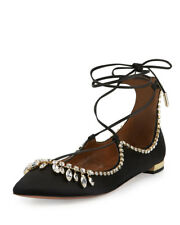 Aquazzura Christy Crystal Lace Up Flats in Black Size 36.5 US 6.5 NWB