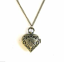 "BRASS GOLD TONE HEART LOCKET WORKING CLOCK 32"" LONG NECKLACE HEART PENDANT"