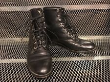 JUSTIN ~ Womens 5 1/2 D ~ Black Leather Lace Up Roper Cowboy Western Boots