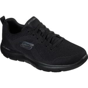 Skechers Mens Summits Brisbane WIDE Fit All Black Trainers Shoes Size UK 8-13