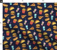 Junk Foods Hot Dog Burger Fizzy Pop Chips Fabric Printed by Spoonflower Bty
