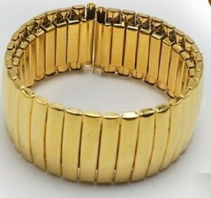 Gold Expanding Stainless Steel Watch Strap Expandable Stretch Var Sizes Band W5