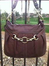 COACH THICK BROWN LEATHER SHOULDER BAG WITH BRASS HARDWARE NICE DETAIL GUC!