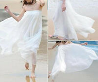 Women Double Layer Chiffon Pleated Retro Style Long Maxi Dress Elastic Skirt