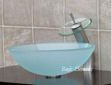 Bathroom Frosted Glass Vessel Vanity Sink Faucet R12FL4