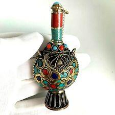 Tibetan Perfume Bottle Pendant Turquoise Red Coral