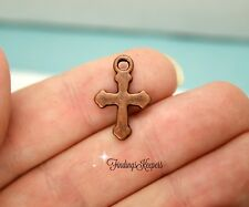 12 Cross Charms 19 x 12 mm Double sided Antique Copper Tone Metal - 290