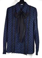 Miu Miu Womens Blouse Polka Dot Button Front Purple Black Silk 38 100% Silk