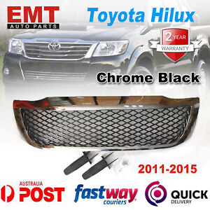 Front Grille Chrome Bentley Style Black Mesh For Toyota Hilux 2011-2015