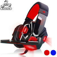 3D Surround Stereo Mic Gaming Headset Headband Headphone USB 3.5mm LED for PC