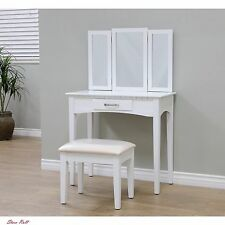 Vanity Set for Girls with Stool Table Chair Antique Bedroom Mirror White Makeup