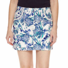 St. John's Bay Women's Floral Cotton Blend Skort Size 8 Blue Green White New