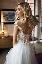 Romantisch Spitze Corsage Brautkleid Transparent Sexy Kurzarm Tüllrock Ivory Neu