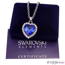 Collana donna oro bianco Swarovski Elements originale G4L cristalli cuore oceano
