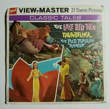 1953 View-Master LITTLE RED HEN, THUMBELINA, PIED PIPER 3 Reel Set + Book