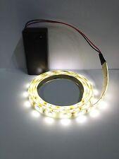 Mostrar Blanco Cálido LED Luz Tira Tira Impermeable 1000mm funciona con batería 9V
