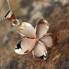 30mm X-LARGE Rose Gold Plumeria Hawaiian Flower Silver Pendant Necklace #SP66089