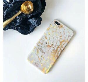Bumper Cover Handyschale Iphone 6 plus Marmor Effekt Gold Weiss Schutz Hülle