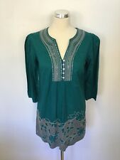 MONSOON JADE GREEN 3/4 SLEEVED SEQUIN EMBROIDERED TOP SIZE 10