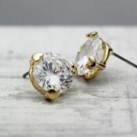 Women 18K Gold Plated Love Heart 12MM Crystal Lab Diamond Cutting Stud Earrings