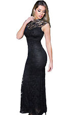 Black Lace Sleeveless Long Mermaid Patchwork Evening Dress