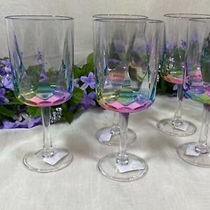 Outdoor /Indoor Rainbow Prism 16 Oz Acrylic Stemmed Wine Glasses - Set Of 6 New