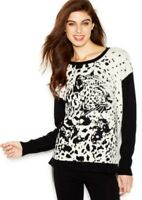 NWT Kensie Women's Long Sleeve Animal Print Colorblocked Sweater Size XS