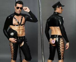 Men Sexy Fancy Cops PU Leather Halloween Costume clubwear Police Uniform Cosplay