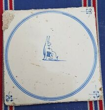 Antique Dutch Delft Blue White Rabbit / Animal Circle Tile 17th C Spider Corners