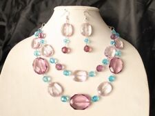 Unicorn Acrylic Large bead Lightweight Purple Blue 18 inch Necklace Bib earrings