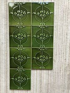 7 Green Art Nouveau Victorian One Colour Embossed Ceramic Tiles 6 in x 6 in
