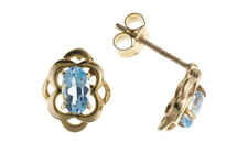 Blue Topaz Celtic Earrings Stud Solid 9 Carat Yellow Gold Studs Natural Stones