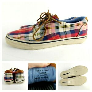 Sperry Top Sider Plaid Boat Dock Shoes Loafers Canvas Men's 13M J13-CH171