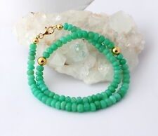 Real Natural Chrysoprase Necklace Precious Stone Faceted Rondelle Apple Green