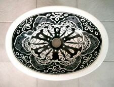 #086 MEDIUM BATHROOM SINK 17X14 MEXICAN CERAMIC HAND PAINT DROP IN UNDERMOUNT