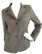 AKRIS PUNTO Wool Blazer Leather Trim & Inner Collar Herringbone Brown S 6 GUC
